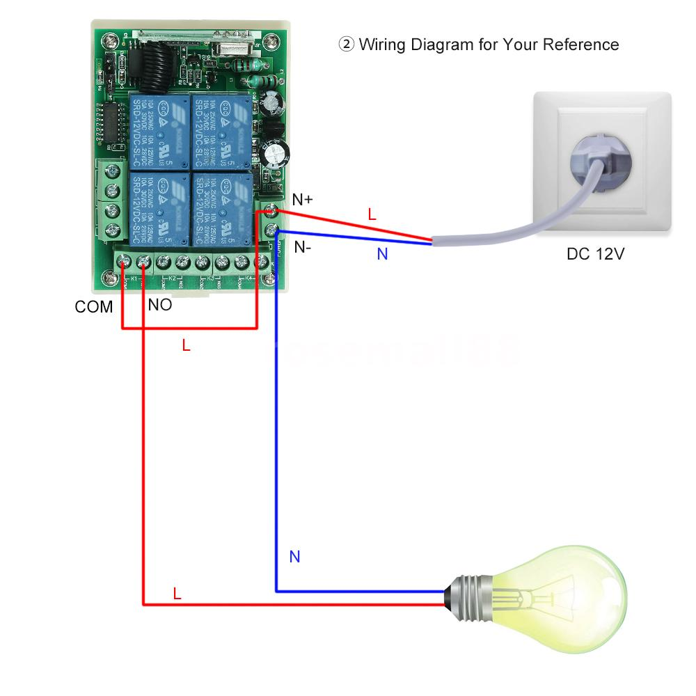 433Mhz DC 12V 4CH Universal Relay Wireless RF Remote ...